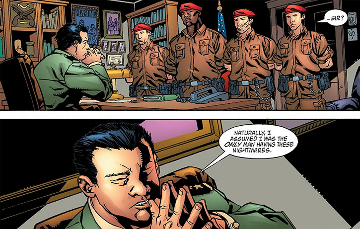 Colonel Rosetti listens to Human Defense Corps troops (DC Comics)