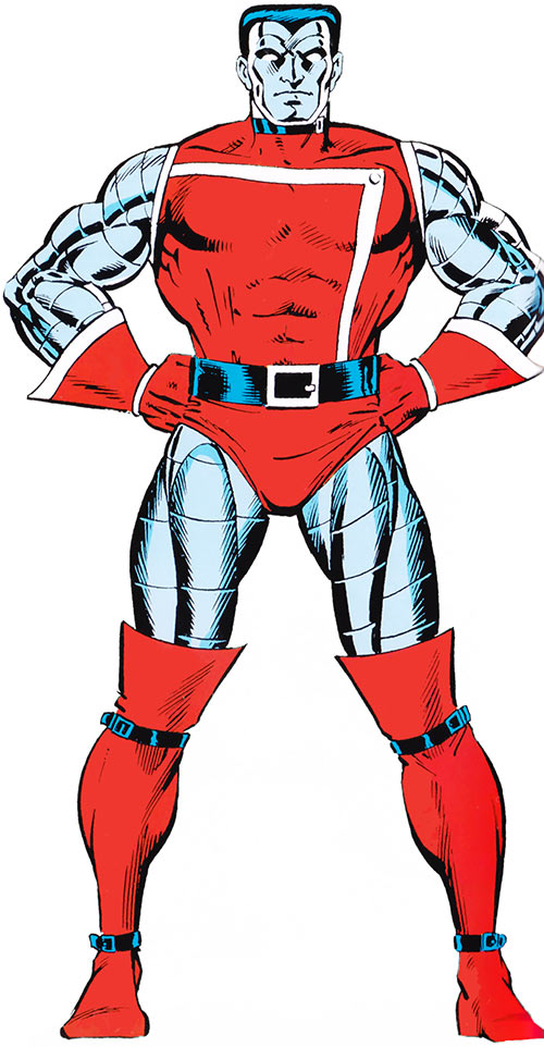 Colossus of the X-Men (Marvel Comics) with the red costume with a chest flap
