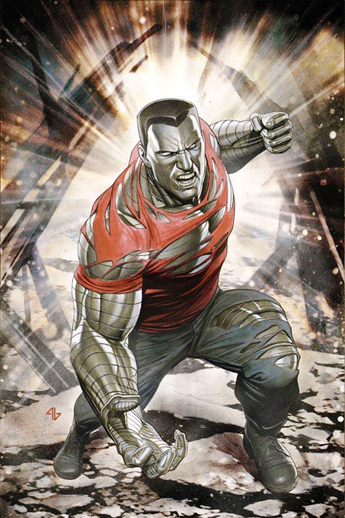 Colossus of the X-Men (Marvel Comics) in shredded clothing