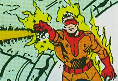 Captain / Commander Blaze of the Supremacists (Marvel Comics) (Black Panther enemy) shooting fire