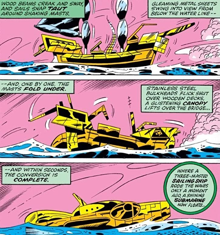 Commander Kraken's sailing ship turns into a submarine