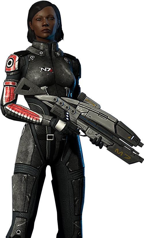 Commander Shepard as displayed in the Mass Effect 1 character creation menu
