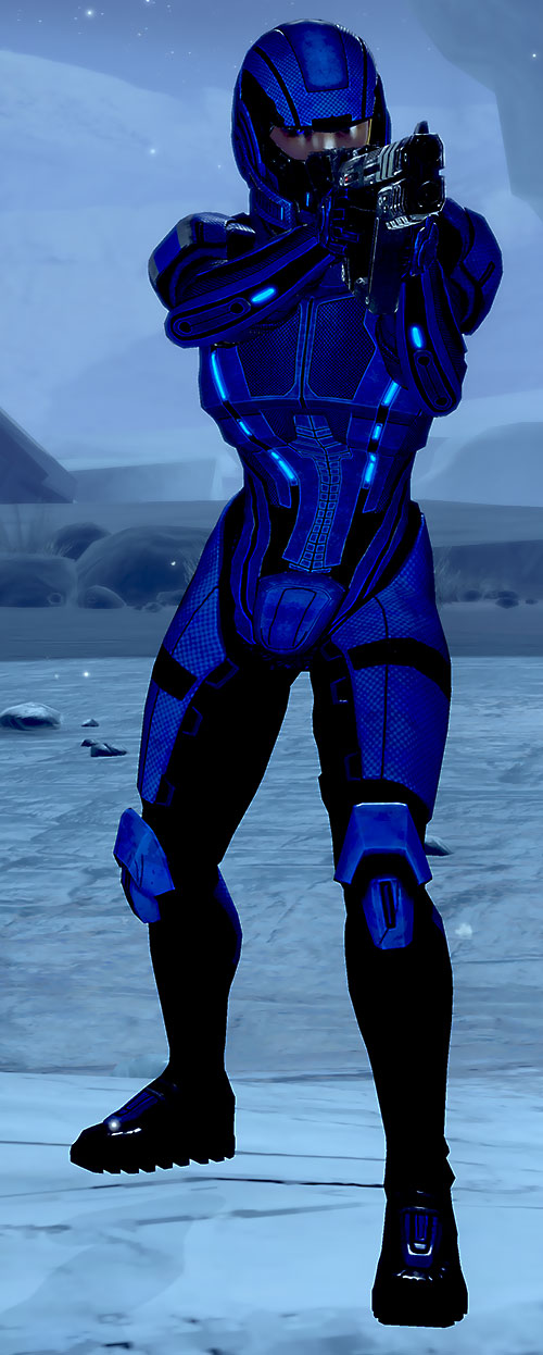 Commander Mari Shepard (Mass Effect 2) in blue body armor aiming a pistol