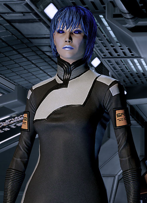 Commander Mari Shepard (Mass Effect 2) in a medical uniform