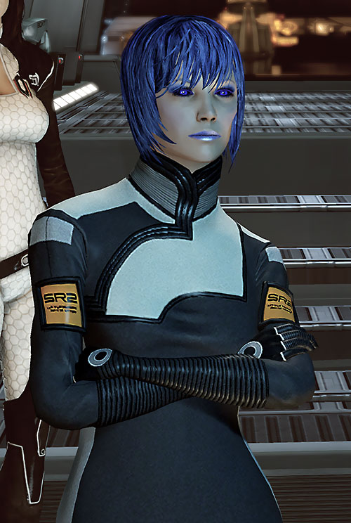 Commander Mari Shepard (Mass Effect 2) with arms crossed