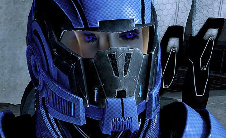 Commander Mari Park-Shepard with her combat helmet on