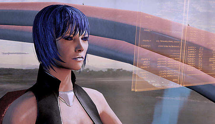 Commander Mari Park-Shepard reading data