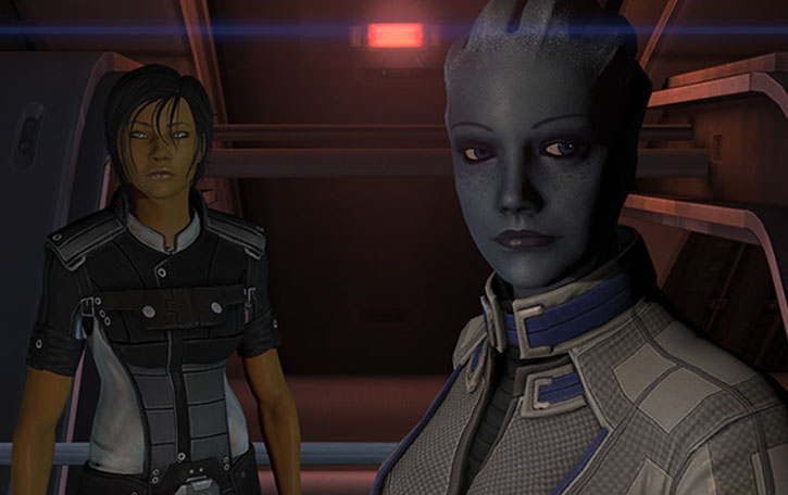 Commander Shepard (Mass Effect 3) and Liara looking cool