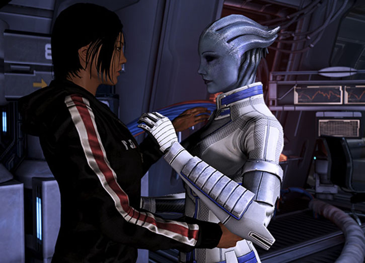 Commander Shepard (Mass Effect 3) and Liara intimate moment
