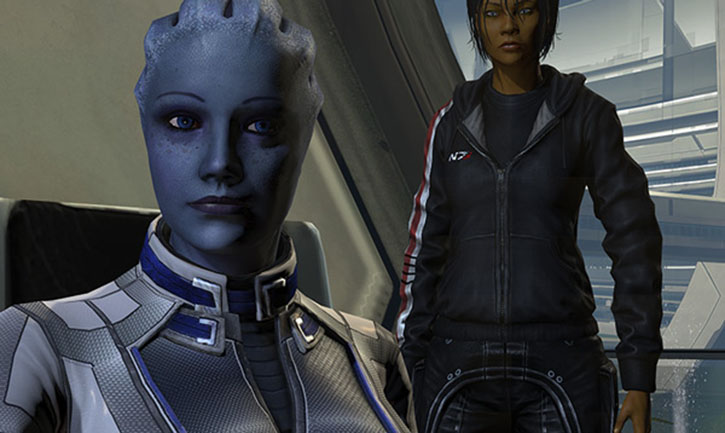 Commander Shepard (Mass Effect 3) standing behind a smiling Liara