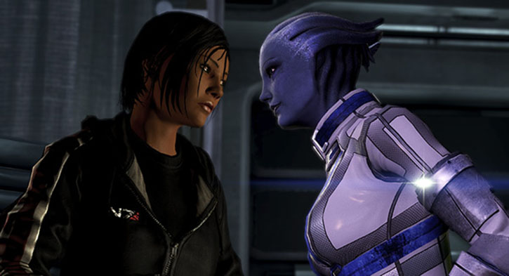 Commander Shepard (Mass Effect 3) and Liara having a romantic moment