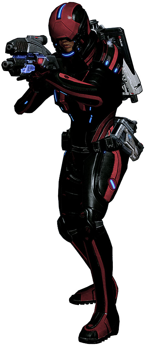 Commander Shepard (Mass Effect 2) full Kestrel red and black