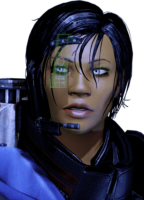Commander Shepard (Mass Effect 2) talking, green and blue visor