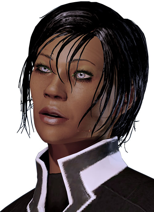 Commander Shepard (Mass Effect 2) face closeup talking