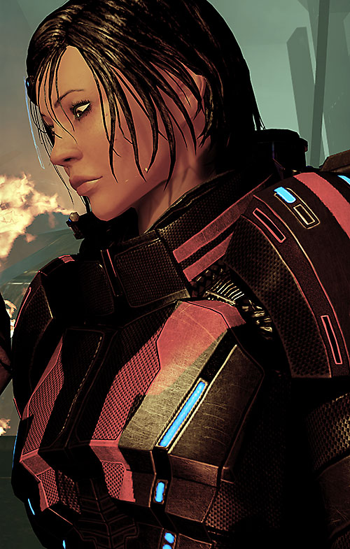 Commander Shepard (Mass Effect 2) side portrait Kestrel black and red