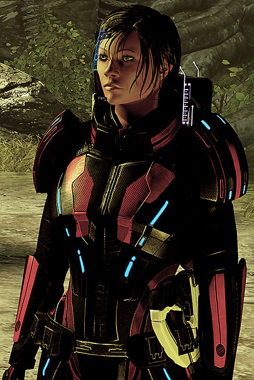 Commander Shepard (Mass Effect 2) Kestrel armor near a forest