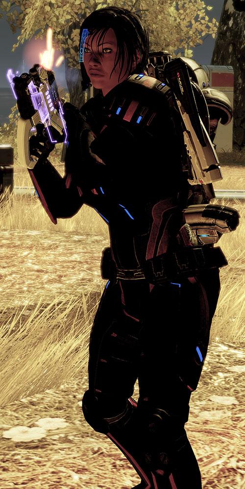 Commander Shepard (Mass Effect 2) reloading her Phalanx pistol