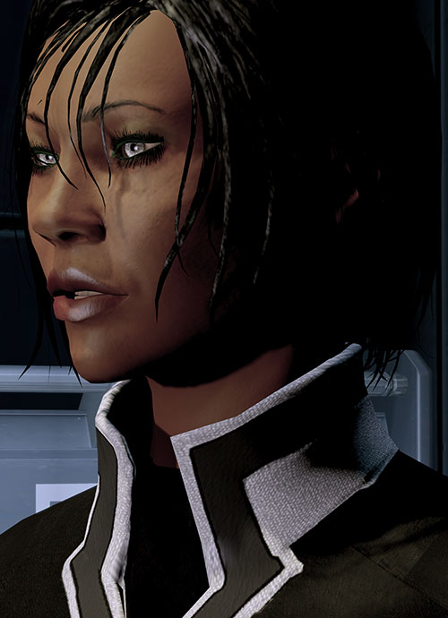 Commander Shepard (Mass Effect 2) face closeup side view