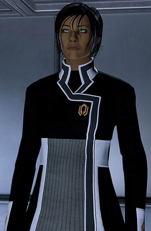 Commander Shepard (Mass Effect 2) focusing, Cerberus flight uniform