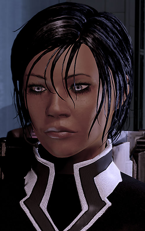 Commander Shepard (Mass Effect 2) sad face closeup