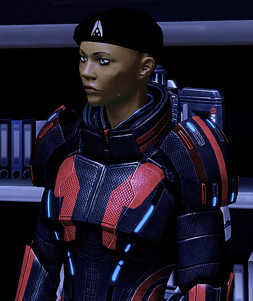 Commander Shepard (Mass Effect 2) with a black beret
