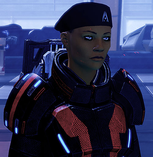 Commander Shepard (Mass Effect 2) with beret, short hair and scars