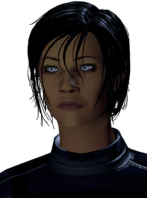 Commander Shepard (Mass Effect 2) intense gaze