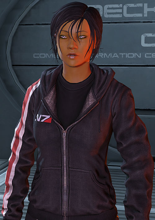 Commander Shepard (Mass Effect 3) N7 black hoodie amused