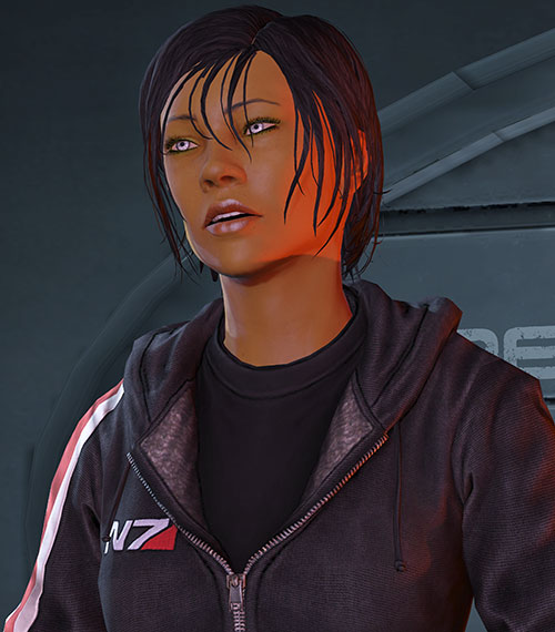 Commander Shepard (Mass Effect 3) N7 hoodie speaking up