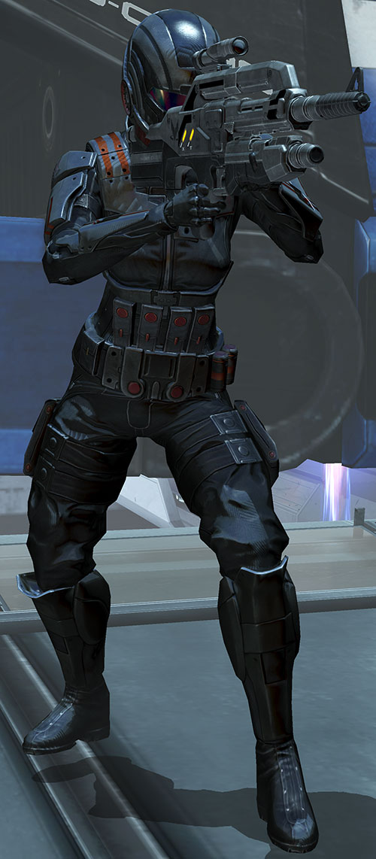 Commander Shepard (Mass Effect 3) black Ajax armor black Mattock rifle