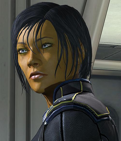 Commander Shepard (Mass Effect 3) reflective eyes