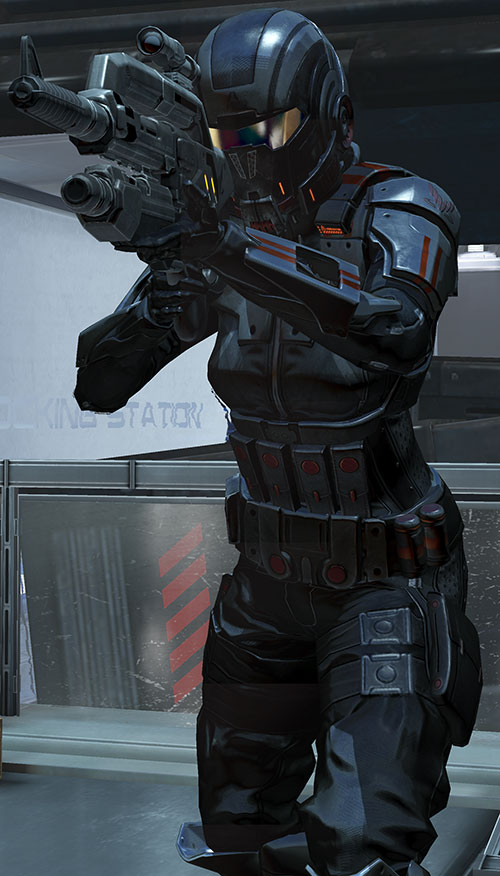 Commander Shepard (Mass Effect 3) Ajax body armor aiming a Mattock