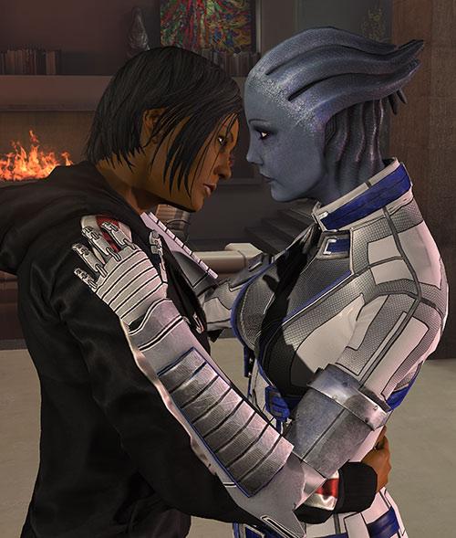 Commander Shepard (Mass Effect 3) hugging Liara