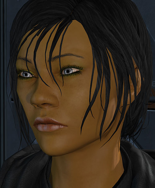 Commander Shepard (Mass Effect 3) face closeup silver eyes