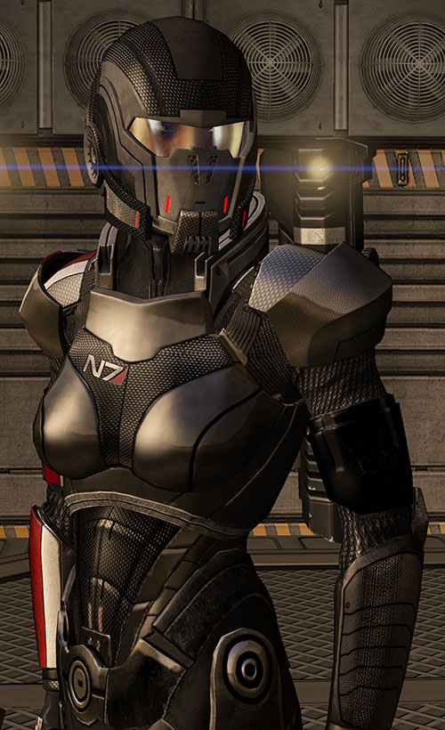 Commander Shepard (Mass Effect 3) Black N7 body armor lens flare
