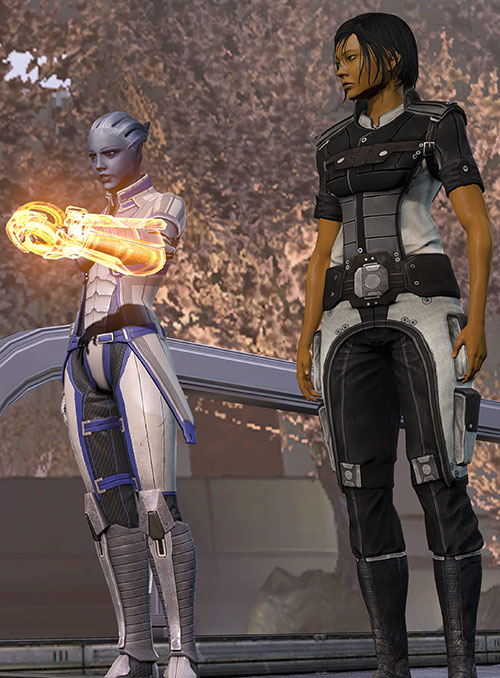 Commander Shepard (Mass Effect 3) and Liara addressing the Council