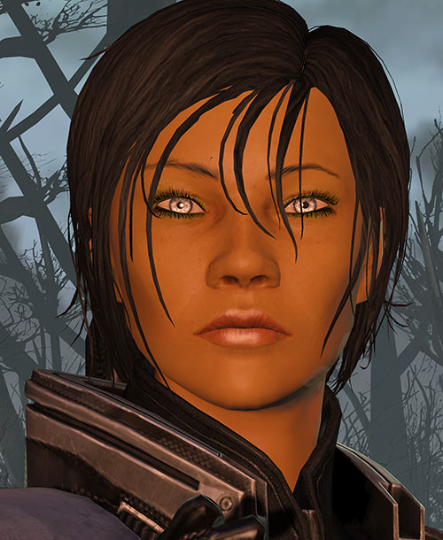 Commander Shepard (Mass Effect 3) face lit by a fire