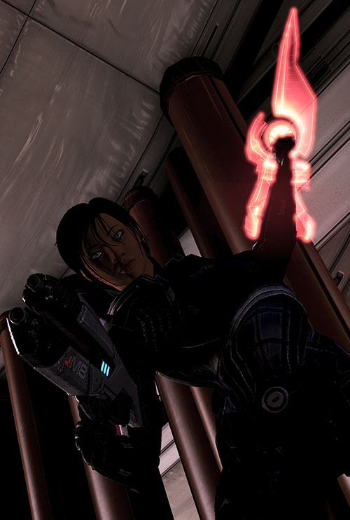 Commander Shepard (Mass Effect 3) raised omni-blade