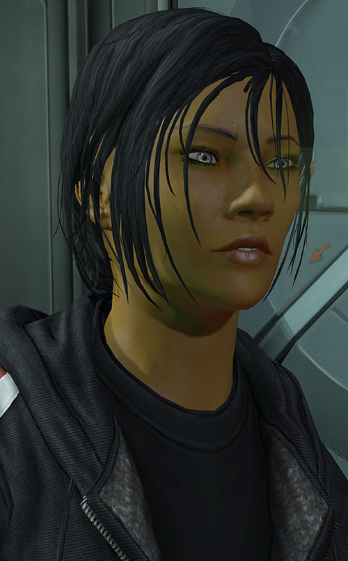 Commander Shepard (Mass Effect 3) faint smile