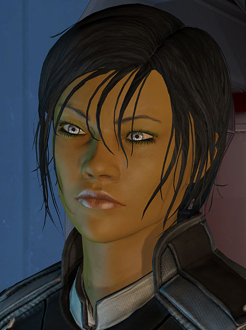 Commander Shepard (Mass Effect 3) pensive face closeup