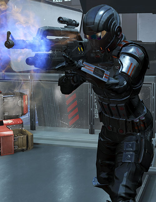 Commander Shepard (Mass Effect 3) Atlas body armor smoking Mattock