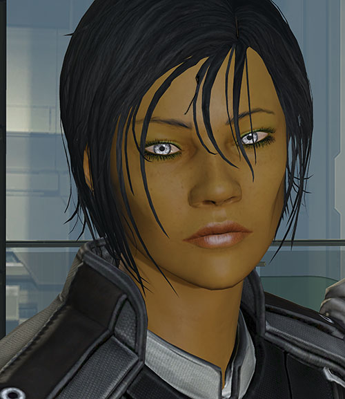 Commander Shepard (Mass Effect 3) sad and tired face closeup