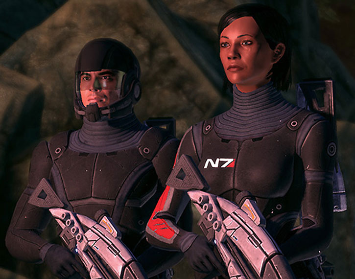 Commander Shepard and Lieutenant Alenko debrief Chief Williams