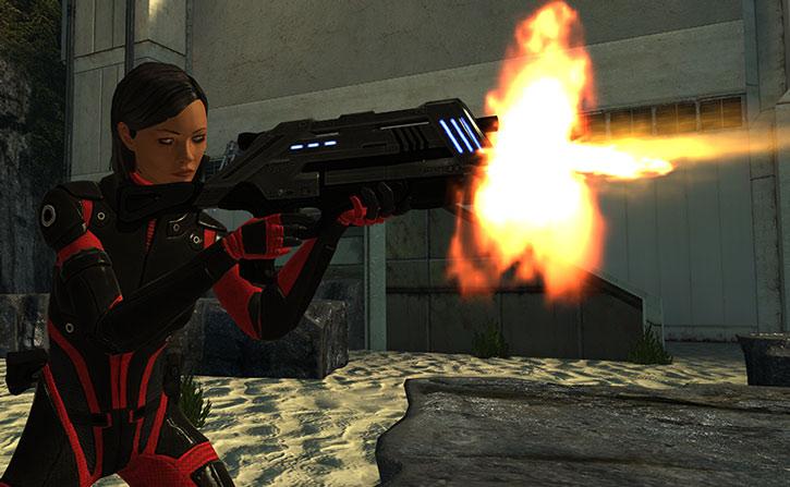 Commander Shepard fires an assault rifle