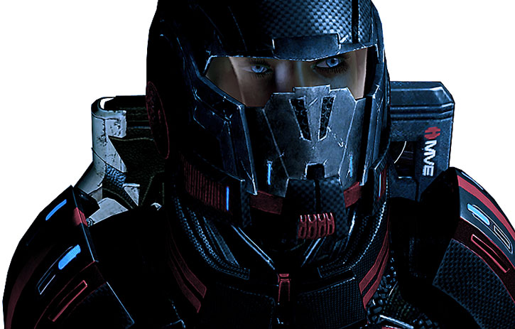 Commander Shepard with her environmental helmet on