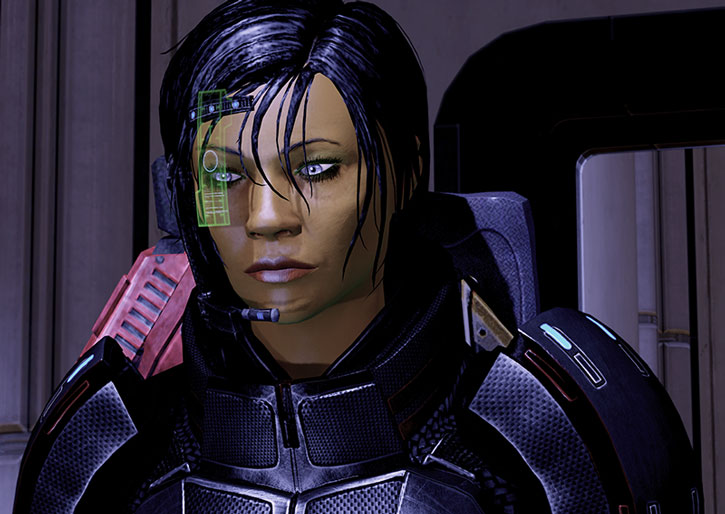 Commander Shepard with her Kuwashii visor in a non-combat position