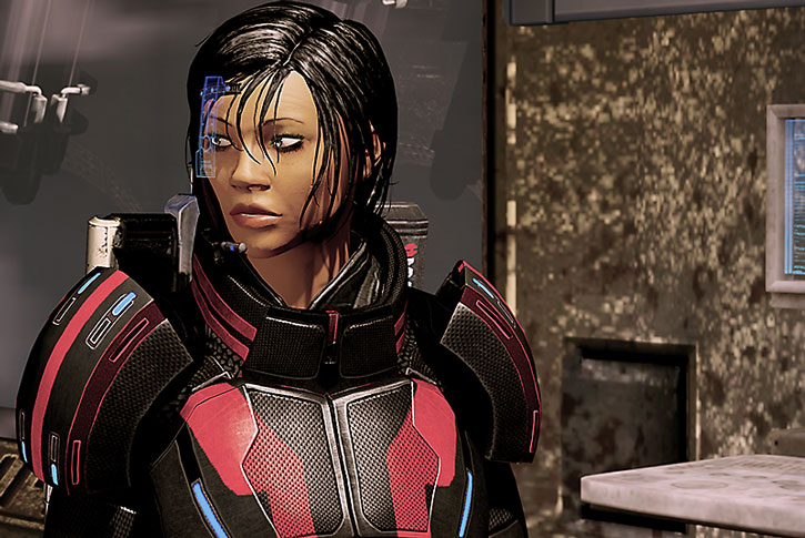 Commander Shepard with her Kuwashii visor