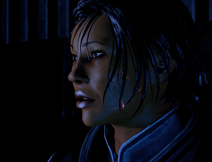 Commander Shepard still bearing some scars from her resurrection