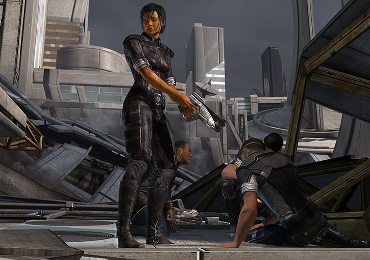 Commander Shepard covers human soldiers in Vancouver