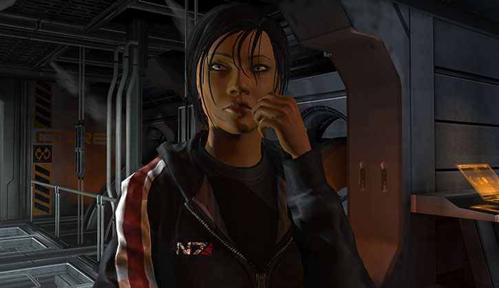 Commander Shepard confers with her engineering team